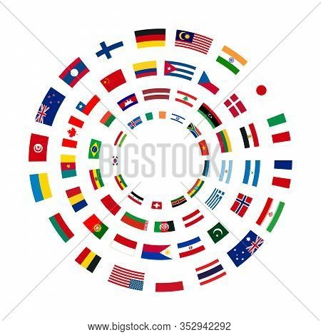 A Lot Of Flags Of Sovereign States Arranged In Four Circles Isolated On White Background
