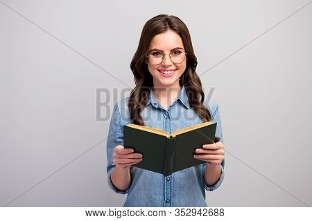 Photo Of Pretty Funny Business Lady Hold Book Hands Reader Toothy Beaming Smiling Good Mood Wear Spe