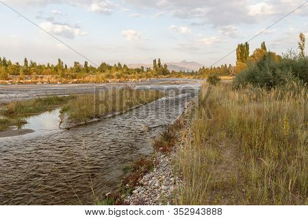Chu River, State Border Between Kazakhstan And Kyrgyzstan, Chuy Valley