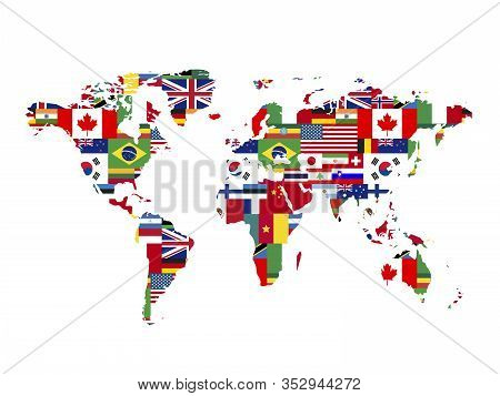 A Lot Of Flags Of Sovereign States In World Map Shape On A White Background