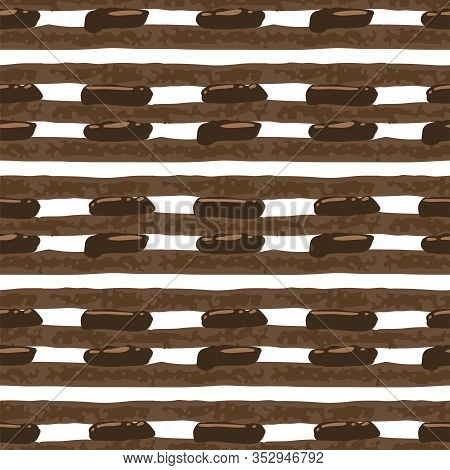 Biscuit And Creamy Layers Of Chocolate Cake. Seamless Pattern