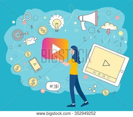 Woman Holding Play Button Surrounded By Social Media Icons. Bullhorn For Marketing Strategy Announce