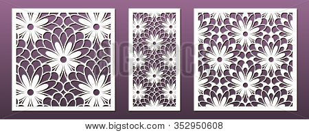 Laser Cut Template Set, Abstract Geometric Pattern. Panel Decor, Metal Cutting, Wood Carving, Paper