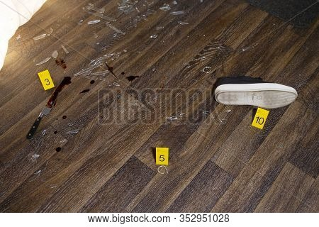 Homicide/burglary Crime Scene Photography (simulated) With Weapons, Blood, Shattered Glass, And Fore