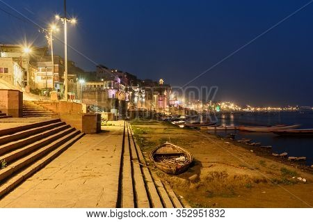 View Of Colorful Illumination Of The Ghats In The Night. Varanasi. India
