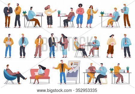 Collection Of Working People. Freelancers At Home And Office Workers With Laptops. Teams And Colleag