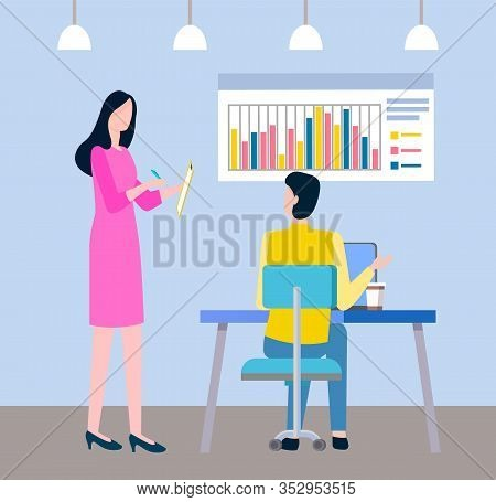 Women Teamwork, People Creative Business Idea. Employee Working With Laptop, Manager Writing Notatio