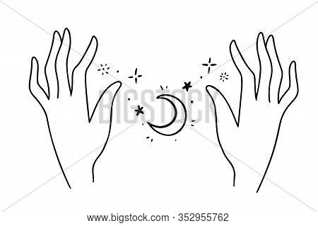 Bohemian Hand Drawn Style Logo Icon Of Hands Holding Stars And A Moon. Fashion, Jewelry, Skin Care A