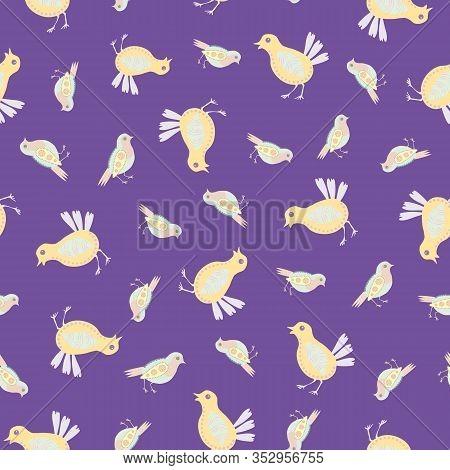 Baby Chick Seamless Vector Pattern Background. Decorated Bird Folk Art Illustration. Scandinavian St