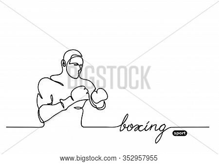 Boxer Vector Sketch. Boxing Sport Event.competition Vector Minimalistic Banner. One Continuous Line