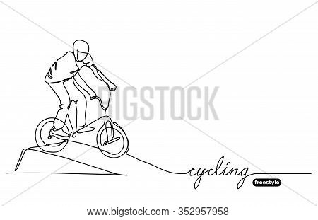 Freestyle Bmx Cycling Vector Sketch, Doodle. Vector Minimalistic Banner, Background. Sport Competiti