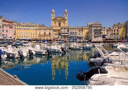 Bastia, France - June 02, 2019: The Old Port (the Vieux Port), In Bastia, Corsica, France. The Small