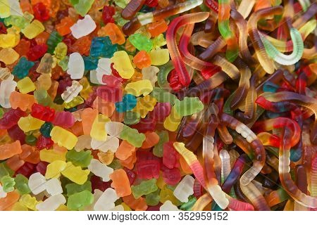 Chewing Marmalade Closeup. Multi-colored Chewing Sweets Texture