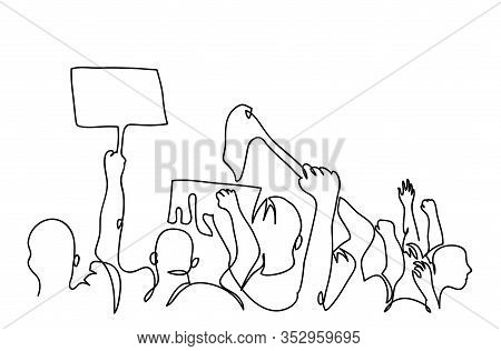 Protesters Crowd Simple Black And White Vector Backview. One Continuous Line Drawing, Illustration,