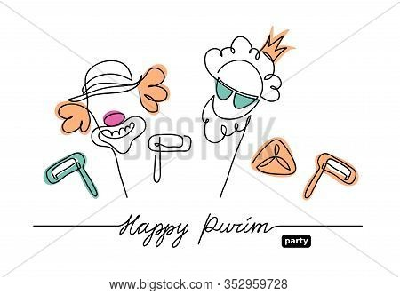 Happy Purim Simple, Minimalistic Vector Background. One Continuous Line Drawing, Illustration, Backg