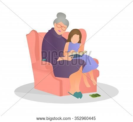 Vector Illustration Granddaughter Listening Her Grandmother Reading A Story In Flat Style. Granny An