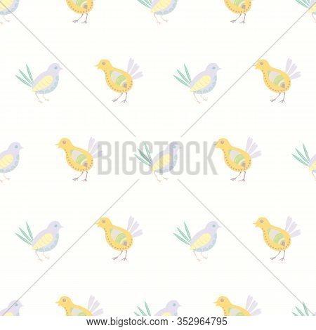 Cute Chicks Seamless Vector Pattern Background. Decorated Bird Folk Art Illustration. Scandinavian S