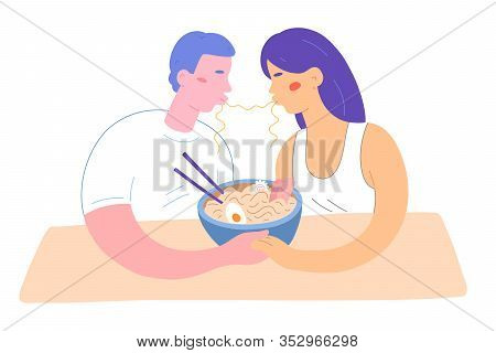 Noodle Kiss, Couple Eating Ramen, Holding Hands In Cafe, Cute Flat Illustration, Isolated Vector Dra