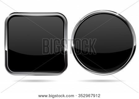 Black Buttons. Shiny Round And Square Buttons With Metal Frame. Vector Illustration Isolated On Whit