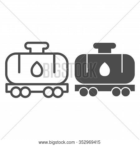 Tank Wagon Line And Solid Icon. Chemical Fuel Railroad Wagon. Oil Industry Vector Design Concept, Ou