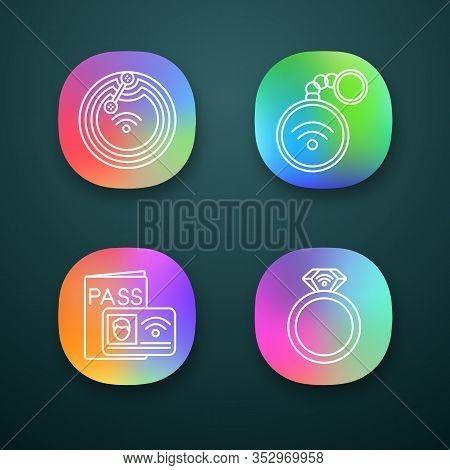 Nfc Technology App Icons Set. Near Field Chip, Trinket, Identification System, Ring. Ui Ux User Inte