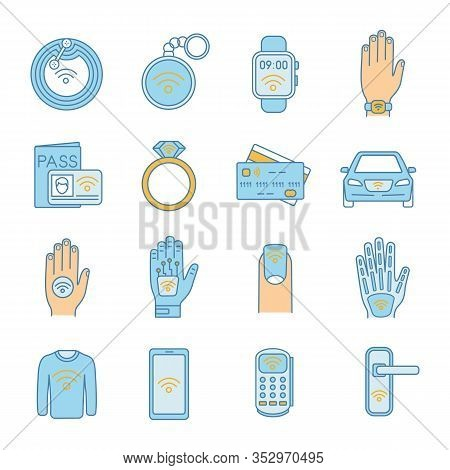 Nfc Technology Color Icons Set. Near Field Communication. Rfid And Nfc Tag, Sticker, Phone, Trinket,