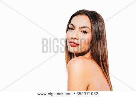 Close up portrait of young beautiful woman model