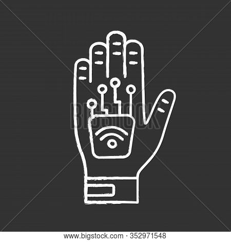 Human Microchip Implant In Hand Chalk Icon. Nfc Implant. Implanted Rfid Transponder. Isolated Vector