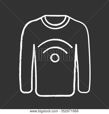 Nfc Clothes Chalk Icon. Near Field Communication Sweater. Rfid Tag. Contactless Technology. Nfc Jump