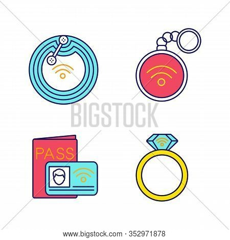 Nfc Technology Color Icons Set. Near Field Chip, Trinket, Identification System, Ring. Isolated Vect