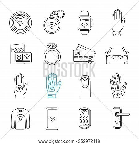 Nfc Technology Linear Icons Set. Near Field Communication. Rfid And Nfc Tag, Sticker, Phone, Trinket