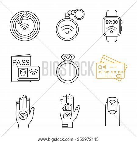 Nfc Technology Linear Icons Set. Near Field Chip, Trinket, Smartwatch, Identification System, Ring,