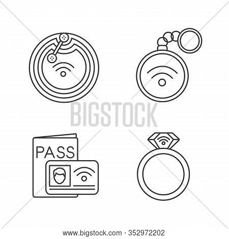 Nfc Technology Linear Icons Set. Near Field Chip, Trinket, Identification System, Ring. Thin Line Co