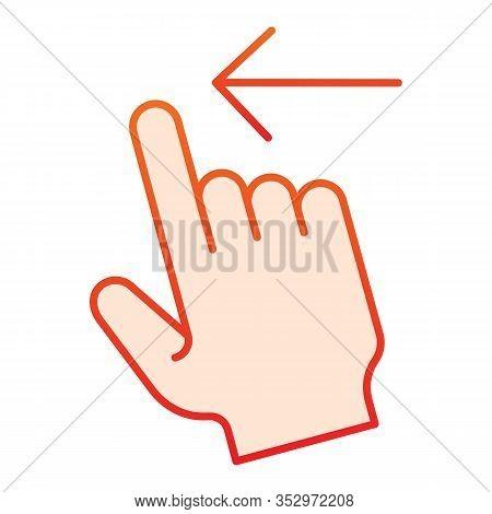 Swipe Left Flat Icon. Flick Left Vector Illustration Isolated On White. Gesture Gradient Style Desig