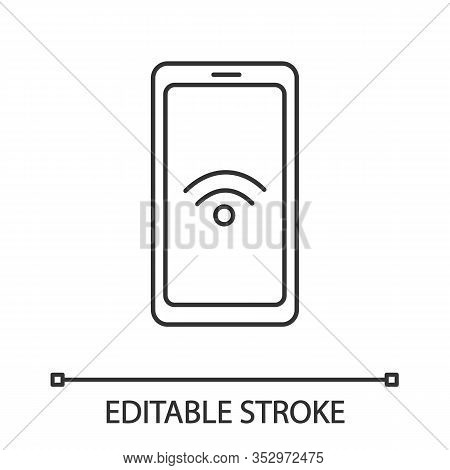 Nfc Smartphone Signal Linear Icon. Nfc Phone. Thin Line Illustration. Near Field Communication. Mobi