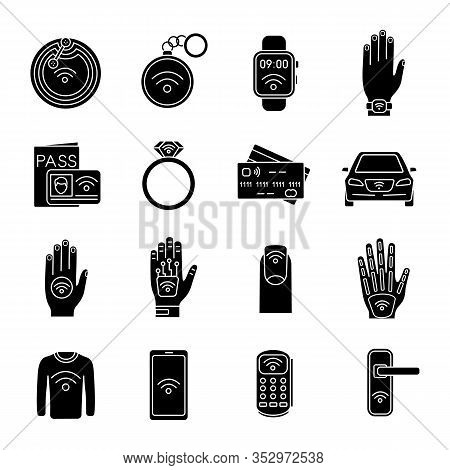 Nfc Technology Glyph Icons Set. Near Field Communication. Rfid And Nfc Tag, Sticker, Phone, Trinket,