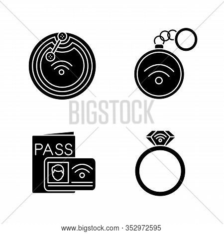 Nfc Technology Glyph Icons Set. Near Field Chip, Trinket, Identification System, Ring. Silhouette Sy
