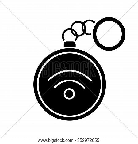 Nfc Trinket Glyph Icon. Near Field Communication. Rfid Tag. Contactless Technology. Silhouette Symbo