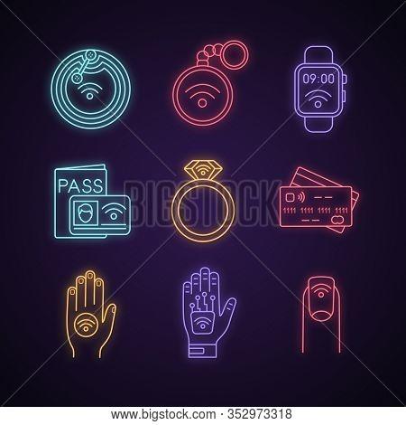 Nfc Technology Neon Light Icons Set. Near Field Chip, Trinket, Smartwatch, Identification System, Ri