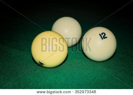 Billiard Table Close Up. Playing Billiard. Billiards Balls On Green Billiards Table.