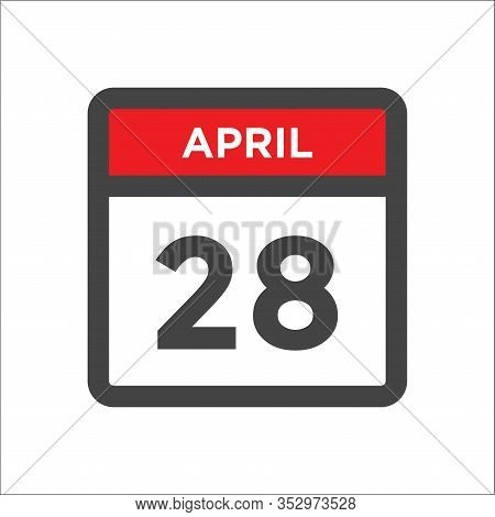 April 28 Calendar Icon With Day And Month