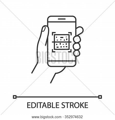 Qr Code Smartphone Scanner Linear Icon. Thin Line Illustration. Quick Response Code. Matrix Barcode