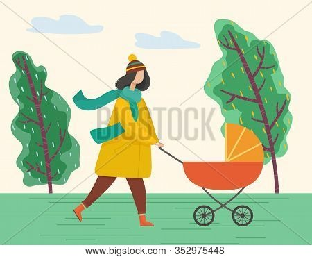 Female Character Walking With Pram In Spring Or Autumn Park. Woman Wearing Warm Clothes Pushing Pera