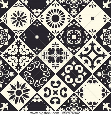 Mexican Talavera Seamless Pattern. Ceramic Tiles With Flower, Leaves And Bird Ornaments In Tradition