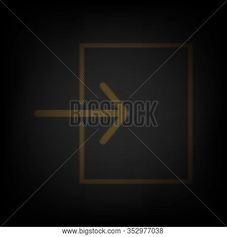 Input Sign. Icon As Grid Of Small Orange Light Bulb In Darkness. Illustration.