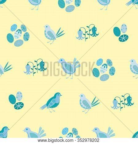 Easter Chick Seamless Vector Pattern Background. Decorated Folk Art Bird, Egg, Bluebell Illustration