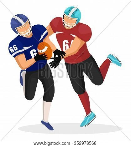 Two Footballers From Different Teams Play In American Football On Stadium. Player Try To Intercept B