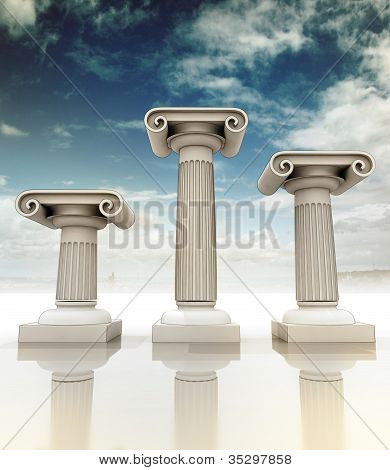 three detailed columns in the ancient Greek Ionian style as podium