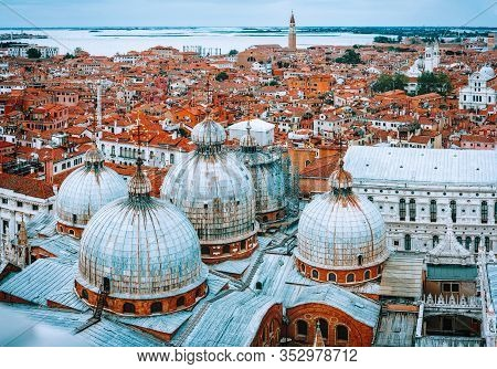 World Known Famous Basilica Di San Marco Cathedral At Piazza San Marco Square In Venice, Italy. Euro