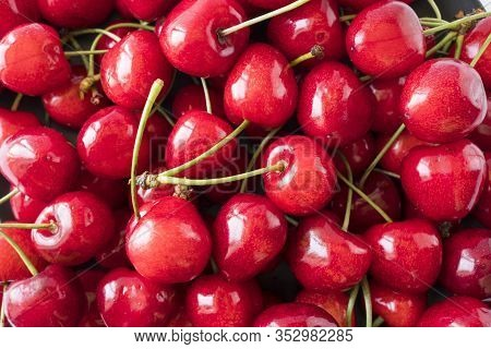 Fresh Red Cherries. Texture Cherries Fruits Close Up. Cherry Fruit. Cherries With Copy Space For Tex